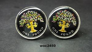 【送料無料】メンズアクセサリ― グレートブリティッシュエナメルコインカフリンクスポンドオークコイン1992 great british enamelled coin cufflinks pound english oak uncirculated coin