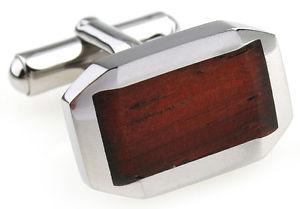 【送料無料】メンズアクセサリ― ステンレススチールクラシックベベルカフスボタンコーワンブラウンwood and stainless steel classic beveled wedding cufflinks by cowan brown