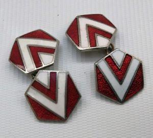 【送料無料】メンズアクセサリ― アールデコエナメルカフリンクスvtg 1940s lambournes art deco redwhite enamel amp; metal hexagonal gents cufflinks