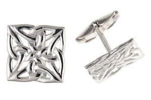 【送料無料】メンズアクセサリ― スターリングシルバーセルティックスクエアカフスボタンsterling silver celtic square cufflinks british made hallmarked