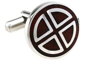 【送料無料】メンズアクセサリ― ステンレススチールセグメントカフスボタンコーワンブラウンwood and stainless steel circle segment wedding cufflinks by cowan brown