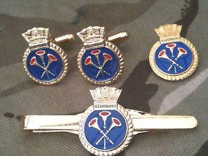 【送料無料】メンズアクセサリ― カフスボタンバッジネクタイクリップセットhms illustrious royal navy cufflinks, badge, tie clip military gift set