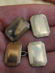 【送料無料】メンズアクセサリ― アールデコゴールドシルバーカフリンクスart deco 9ct gold and silver cufflinks
