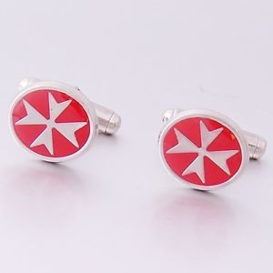 【送料無料】メンズアクセサリ― アマルフィマルタヨハネスターリングシルバーレッドエナメルオーバルカフスボタンマルタクロスamalfi malta maltese cross of st john sterling silver red enamel oval cufflink