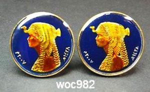 【送料無料】メンズアクセサリ― エジプトエナメルコインクレオパトラカフスカフリンクスegypt enamelled coin cufflinks cleopatra 50 piastres cuffs