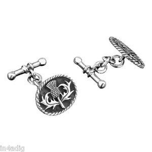 【送料無料】メンズアクセサリ― スコットランドシスルスターリングシルバーカフリンクスscottish thistle sterling silver cufflinks