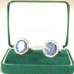 【送料無料】メンズアクセサリ― ペンスカフスボタンアンプ2018 twenty pence 20p cufflinks in blue amp; silver