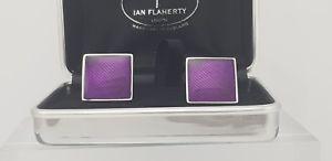 【送料無料】メンズアクセサリ― ディープパープルカフリンクスハンドイアンフラハティエナメルテクスチャーdeep purple cufflinks, hand enamelled heavy textured squares by ian flaherty