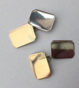 【送料無料】メンズアクセサリ― ビンテージシルバーカフシルバーリンクゴールドmenswomens vintage silver cufflinks gold on silver