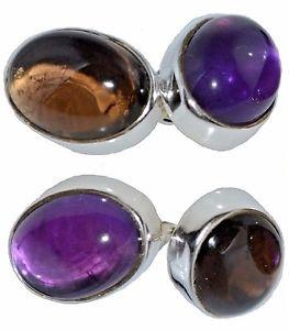 【送料無料】メンズアクセサリ― アメジストスターリングシルバースモーキークオーツカフリンクスチェーンamethyst and smoky quartz cufflinks in sterling silver, 925 chain 4 gem cufflink