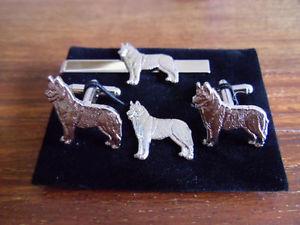 【送料無料】メンズアクセサリ― ハスキーシルバータイスライドラペルピンhusky silver col cufflink, tie slide lapel pin set