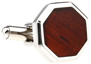【送料無料】メンズアクセサリ― ステンレススチールカフスボタンコーワンブラウンwood and stainless steel octagonal wedding cufflinks by cowan brown