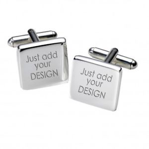 【送料無料】メンズアクセサリ― デザインカフスボタンパーソナライズカフリンクスany design engraved cufflinks personalised square cufflinks