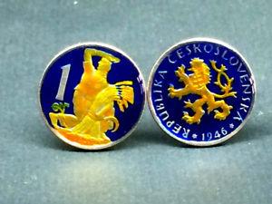 【送料無料】メンズアクセサリ― チェコスロバキアコインカフスボタンコルナチェコ1946 czechoslovakia coin cufflinks 1 koruna 20mm  czech