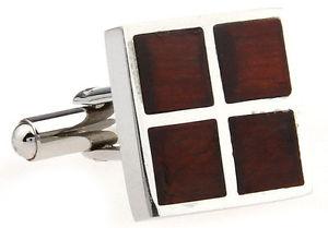 【送料無料】メンズアクセサリ― ステンレススチールカフスボタンコーワンブラウンwood and stainless steel four square wedding cufflinks by cowan brown
