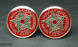 【送料無料】メンズアクセサリ― モロッコエナメルコインカフスボタンフランフランスmorocco enamelled coin cufflinks maroc 1 franc 1945 french protectorate