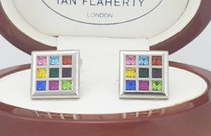 【送料無料】メンズアクセサリ― イアンフラハティスワロフスキーマルチカラークリスタルカフスボタンカフリンクスian flaherty swarovski multi coloured crystal cufflinks,men and ladies cufflinks