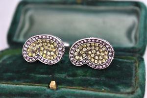 【送料無料】メンズアクセサリ― ビンテージスターリングシルバーアールデコクリスタルデザインカフリンクスvintage sterling silver cufflinks with an art deco crystal design b876