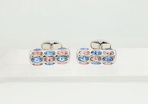 【送料無料】メンズアクセサリ― サファイアクリスタルカフスボタンローズスタイリッシュデザイナーカフリンクスsapphire and rose crystal cufflinks, mens or womens stylish designer cufflinks