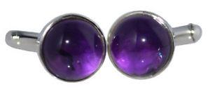 【送料無料】メンズアクセサリ― スターリングシルバーアメジストカフリンクスラウンドカフスsterling 925 silver purple amethyst cufflinks, round cuffs, authentic gemstones
