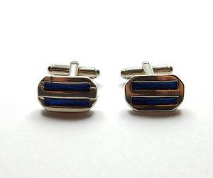 【送料無料】メンズアクセサリ― エナメルストライプスターリングシルバーモダンcufflinks blue enamel stripe gents 925 sterling silver modern 107g