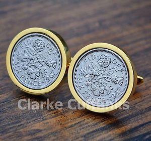 【送料無料】メンズアクセサリ― ゴールドカフスボタンコインメンズgold sixpence cufflinks 6d coin birthday anniversary present gift mens 50th 60th