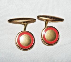 【送料無料】メンズアクセサリ― ビンテージアールデコターゲットメッキカフスボタンラウンドシェイプvintage art deco red circle target gold plated cufflinks round shape