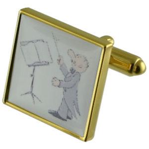 【送料無料】メンズアクセサリ― ゴールドスクエアカフリンクスmusic conductor gold square cufflinks with engraved personalised case