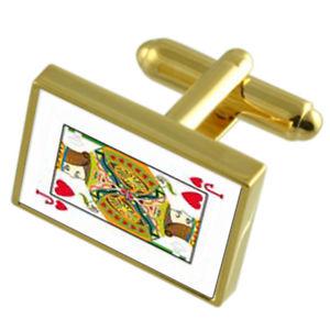 【送料無料】メンズアクセサリ― トランプジャックゴールドカフスリンクメッセージボックス