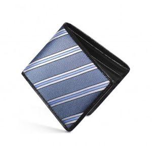 【送料無料】メンズアクセサリ― シルクレザーストライプdalvey silk leather rfid billfold wallet blue natte stripe