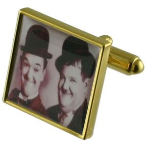 【送料無料】メンズアクセサリ― コメディーローレルハーディカフスリンクcomedy laurel hardy gold square cufflinks with engraved personalised case
