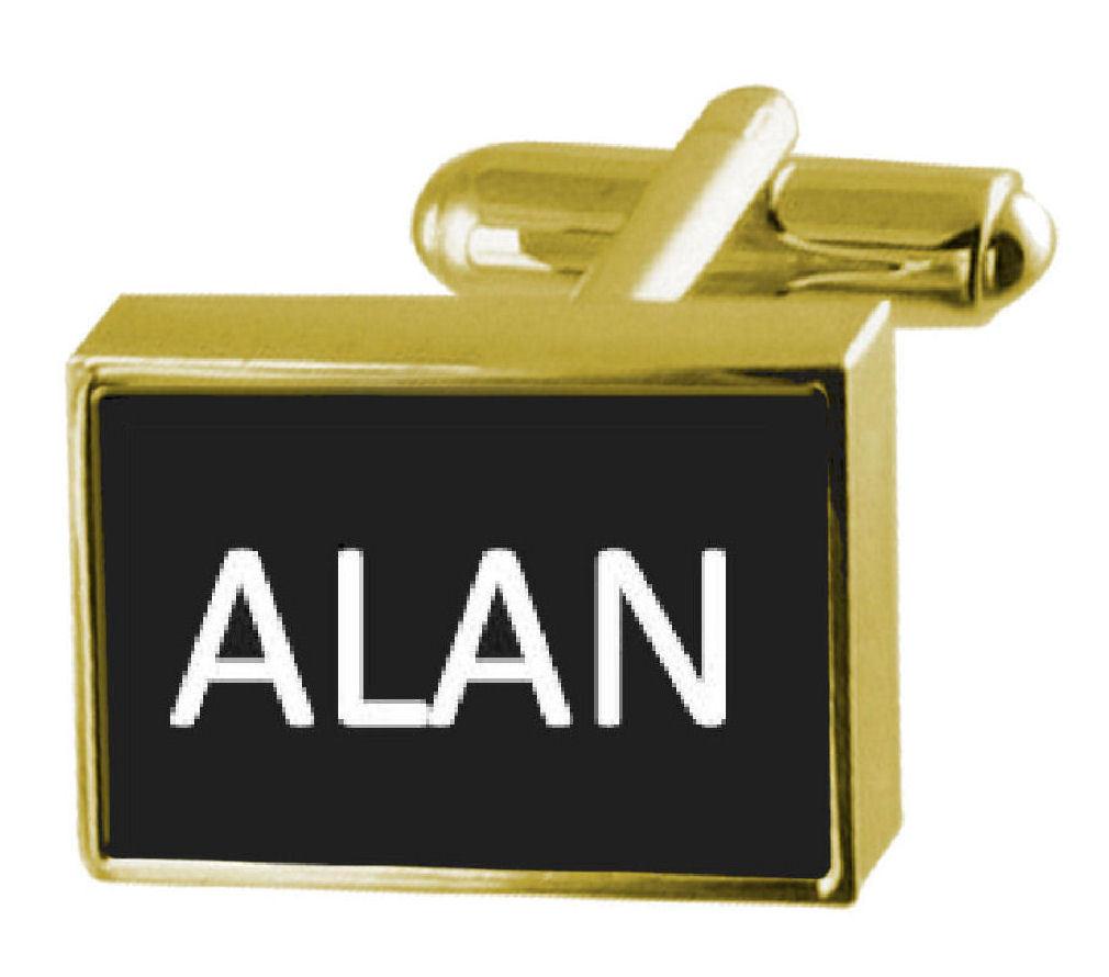 【送料無料】メンズアクセサリ― ボックスカフリンクスアランengraved box goldtone cufflinks name alan