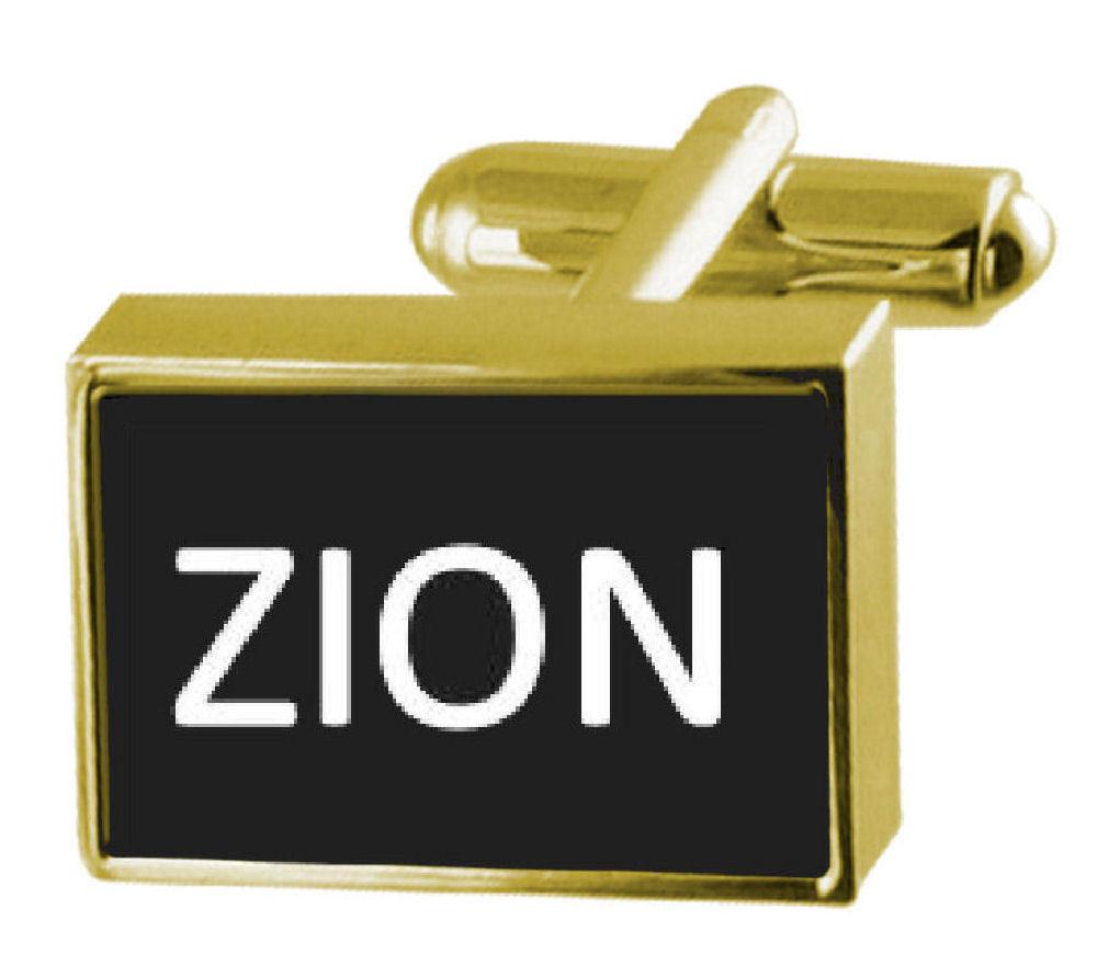 【送料無料】メンズアクセサリ― ボックスカフリンクスザイオンengraved box goldtone cufflinks name zion