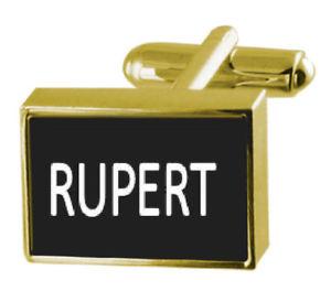 【送料無料】メンズアクセサリ― ボックスカフリンクスルパートengraved box goldtone cufflinks name rupert