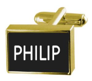 【送料無料】メンズアクセサリ― ボックスカフリンクスフィリップengraved box goldtone cufflinks name philip