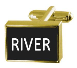 【送料無料】メンズアクセサリ― ボックスカフリンクスengraved box goldtone cufflinks name river
