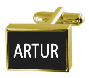 【送料無料】メンズアクセサリ― ボックスカフリンクスengraved box goldtone cufflinks name artur