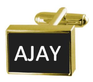 【送料無料】メンズアクセサリ― ボックスカフリンクスジャイengraved box goldtone cufflinks name ajay