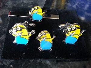 【送料無料】メンズアクセサリ― カフスリンクtieslideピンセットminions cufflink, tieslide lapel pin set, despicable me, minion