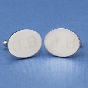 【送料無料】メンズアクセサリ― カフリンクスlarge oval engraved initial cufflinks