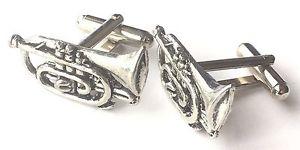 【送料無料】メンズアクセサリ― ハンドメイドピューターカフリンクスcornet music instrument hand made pewter cufflinks no268