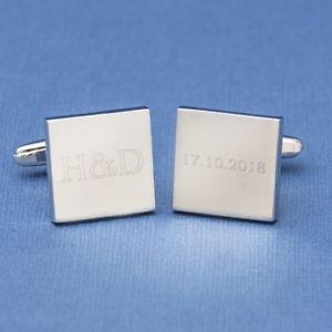 【送料無料】メンズアクセサリ― イニシャルカフリンクスinitials and date square wedding cufflinks engraved