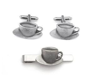 【送料無料】メンズアクセサリ― ピューターカフスボタンタイクリップボックスセットteacup pewter cufflinks and tie clip set tea drinkers gift boxed