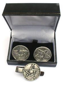 【送料無料】メンズアクセサリ― ピューターカフスボタンタイクリップボックスセットfive pointed star pewter cufflinks and tie clip set gift boxed
