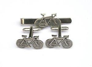 【送料無料】メンズアクセサリ― レーシングバイクピューターカフスボタンタイクリップサイクリングボックスセットracing bike pewter cufflinks and tie clip set cycling gift boxed