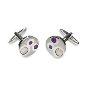 【送料無料】メンズアクセサリ― カフスボタンgoing dotty purple cufflinks