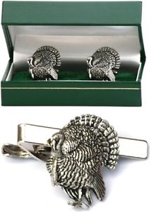 【送料無料】メンズアクセサリ― トルコカフスボタンタイクリップバースライドメンズセットturkey farming cufflinks amp; tie clip bar slide mens gift set bow hunting present