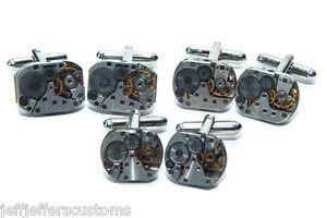 【送料無料】メンズアクセサリ― カフリンクセットカフスボタンウォッチgroomsmen watch movement cuff link gift set set of 3 steampunk wedding cufflinks
