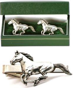 【送料無料】メンズアクセサリ― カフスボタンタイクリップバースライドメンズトレーニングセットhorse cufflinks amp; tie clip bar slide mens set training riding equestrian gift
