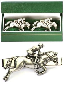 【送料無料】メンズアクセサリ― カフリンクスタイクリップバースライドメンズeventing cufflinks amp; tie clip bar slide mens set horse show jumping gift